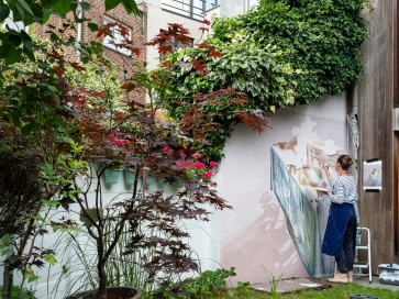 muurschildering tuin